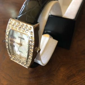 Chico's Black Silver With Crystals Watch - In Box